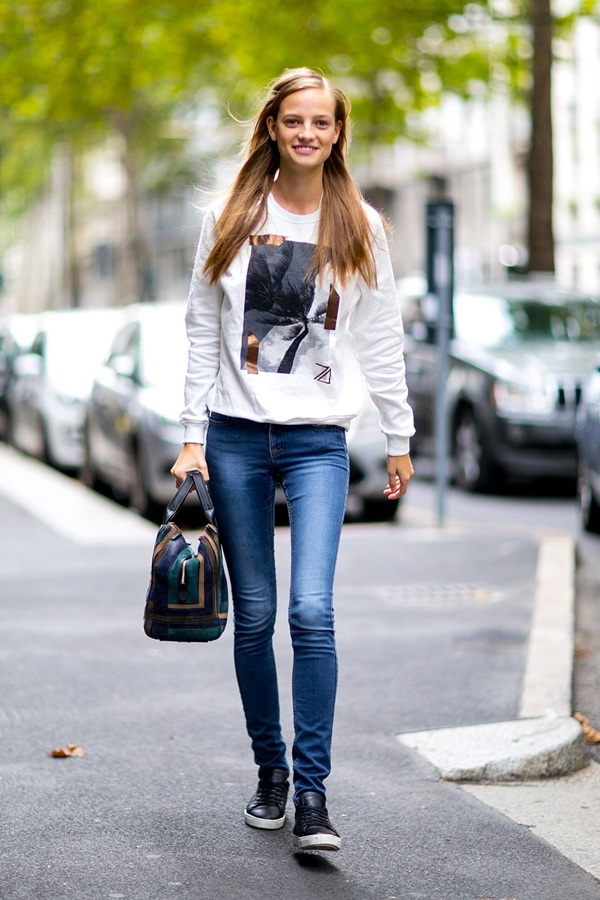skinny jeans street style 2016-2017 pic 2