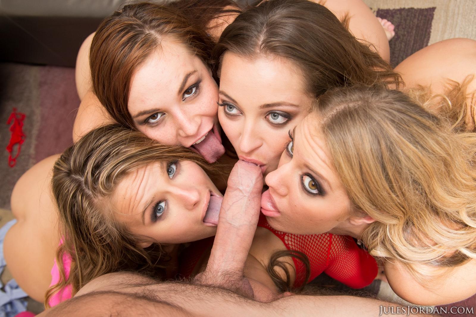 Orgia - 5 chicas lindas comparten una verga grande