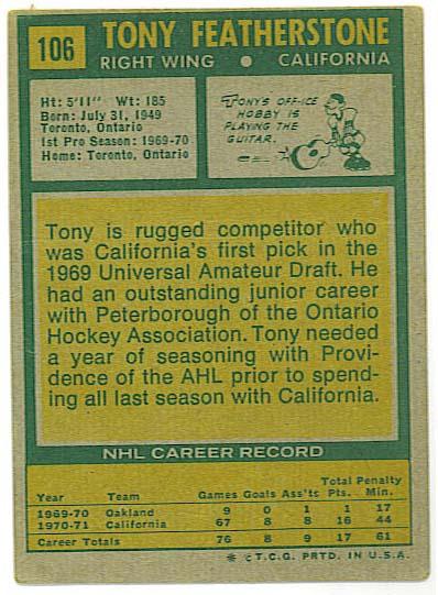Tony Featherstone - 1971-72 Topps back