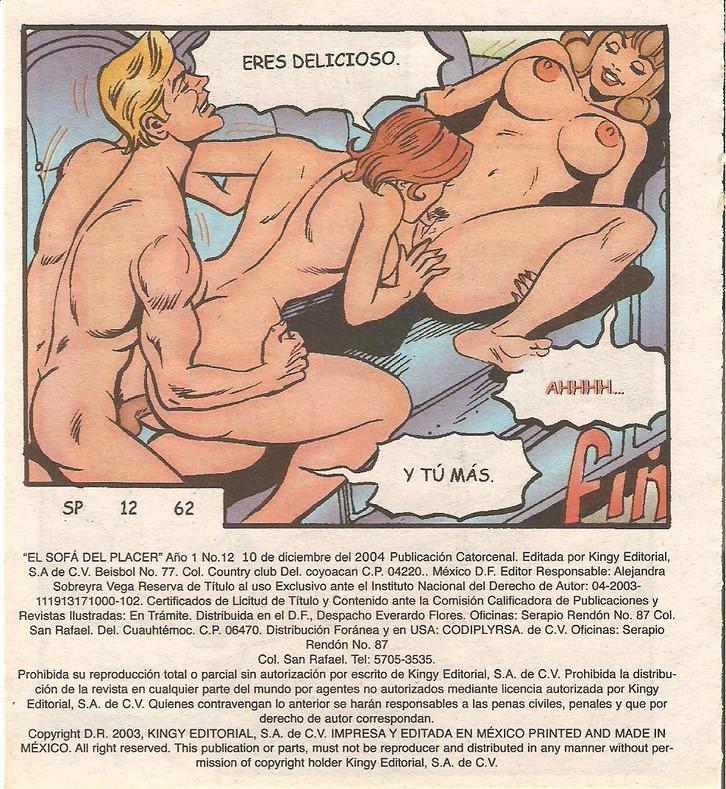 Lesbianas cómic en el sofá del placer 12