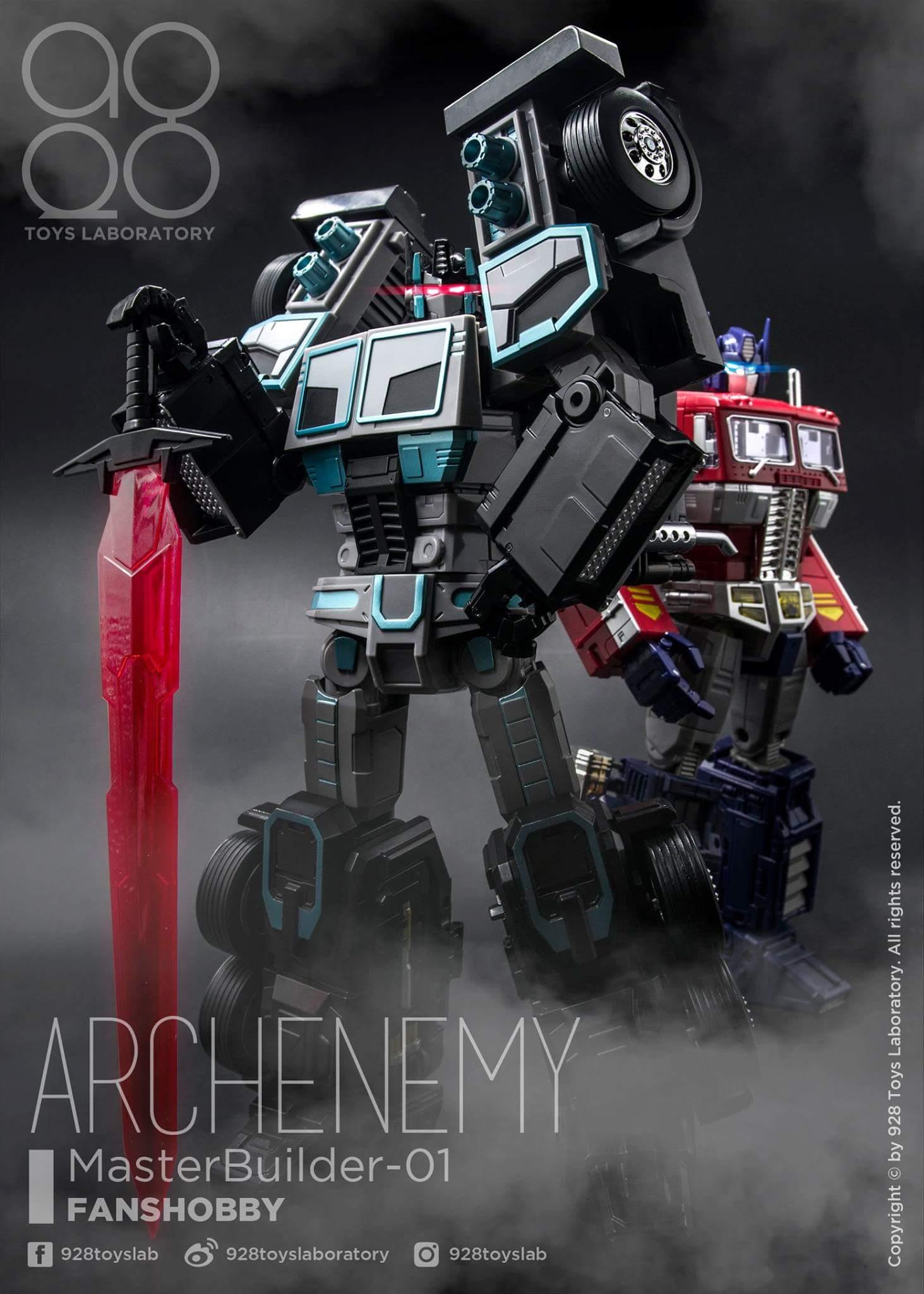 [FansHobby] Produit Tiers - Master Builder MB-01 Archenemy (aka Scourge RID 2000),  MB-04 Gunfighter II (aka Laser Optimus G2) et MB-09 Trailer (remorque) Idj8y4ds