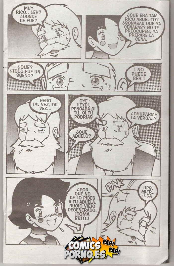 Comic porno de Heidi en un trio con Clara y el abuelo