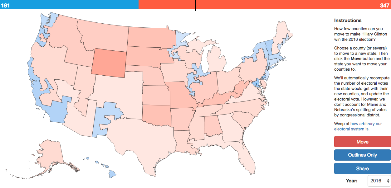 App To Redraw The States And Change The Electoral Map - Us map popular redrawn popular vote