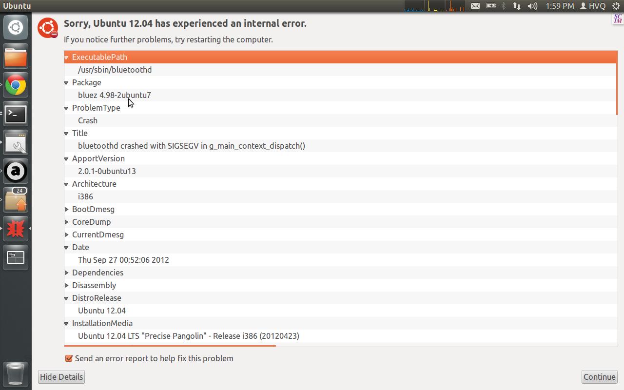 ubuntu] Error message - need to disable bluetooth