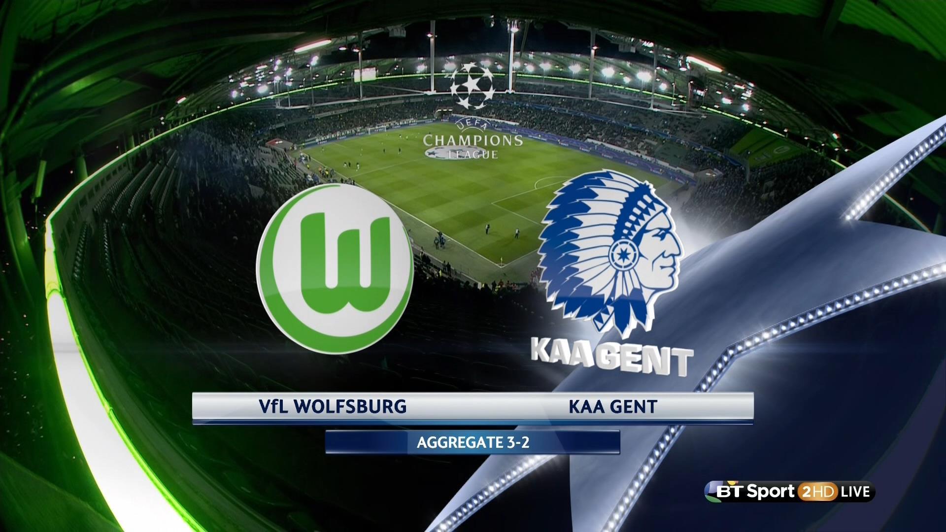 Futbol Ucl 201516 R16 2nd Leg Vfl Wolfsburg Vs Kaa Gent