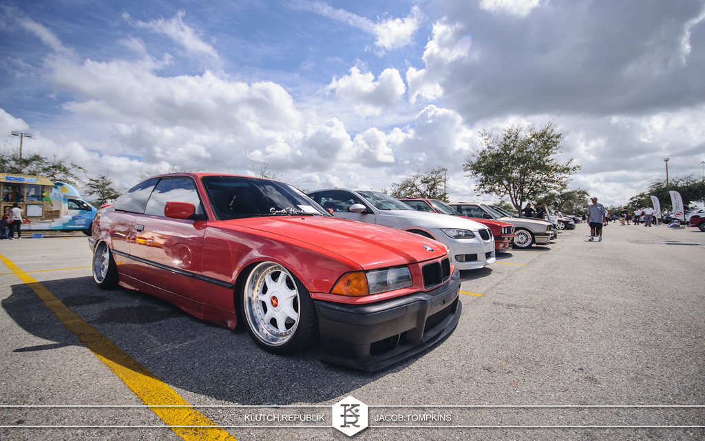 slammed air bagged bmw E36 red bmw