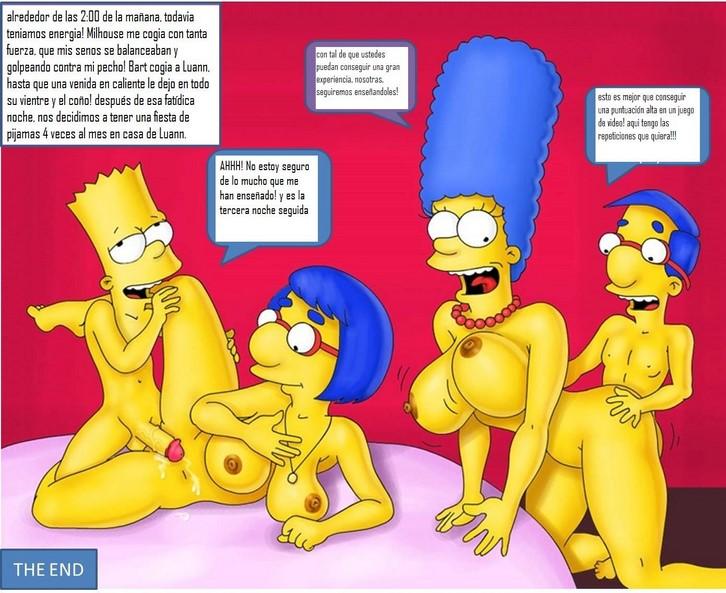 Cómic porno de los Simpson con Marge, Luann, Homero y Milhouse