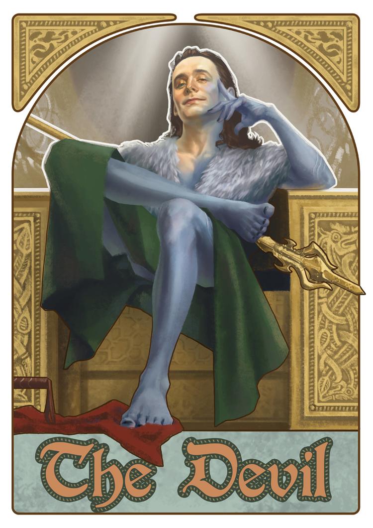 "Loki carta Tarot ""Los Vengadores"" de Julia Cross"