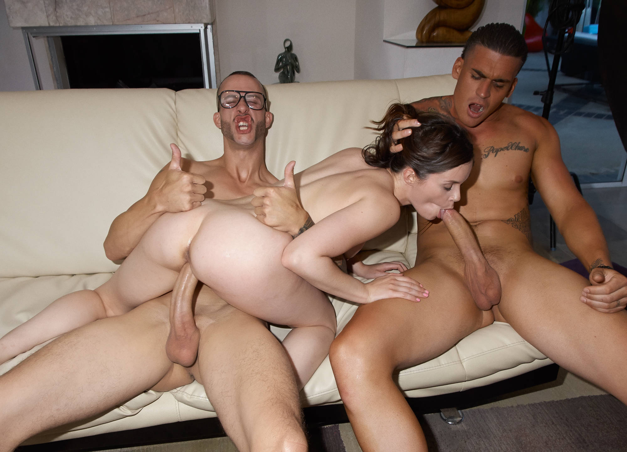 Three old sluts sucking and fucking one young guy