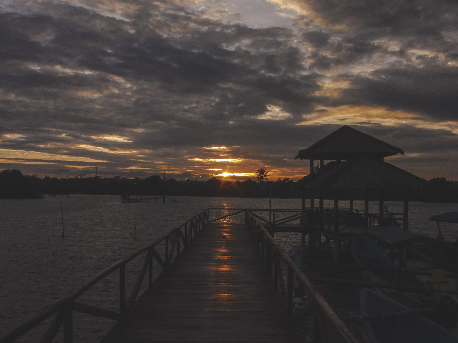 sunset time at mangrove bridge, batukaras
