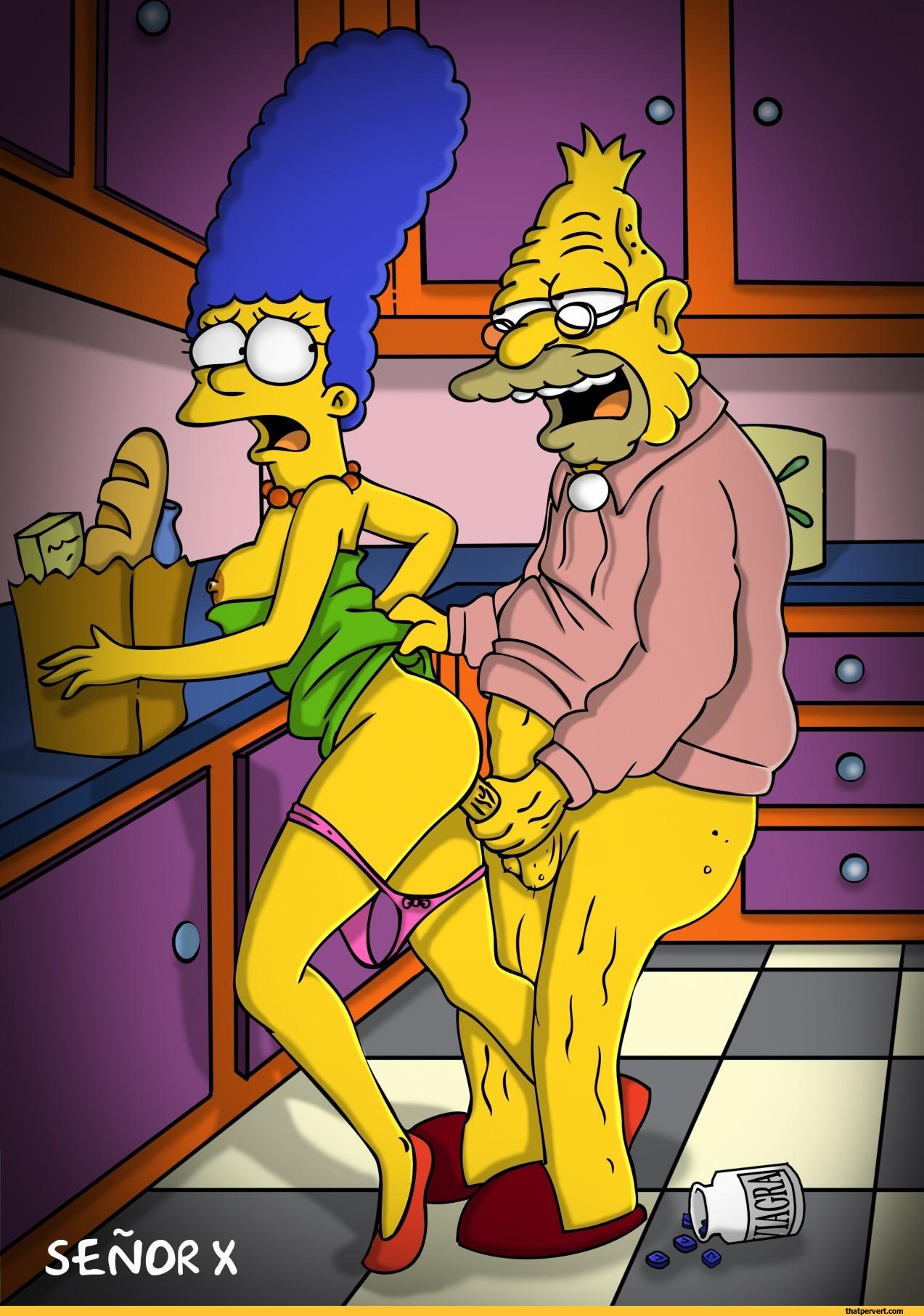 Abuelo Porno abuelo simpson follando con marge en la cocina simpson porno