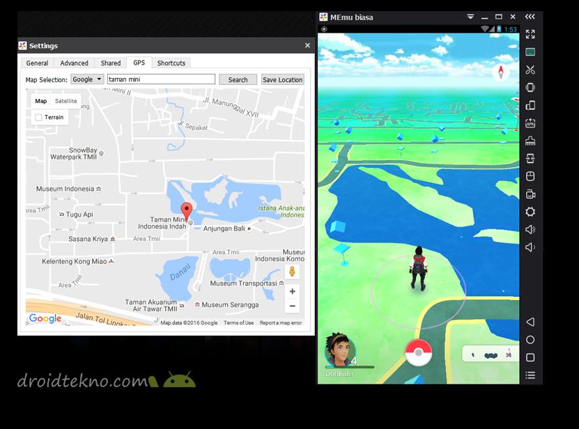 Main Pokemon GO di PC menggunakan Emulator !_cutom-location