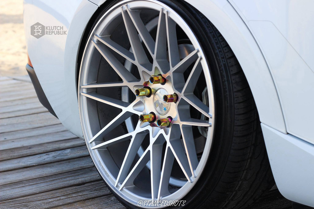 Stanced Lexus IS 250 350 on klutch wheels km20 silver 19x10