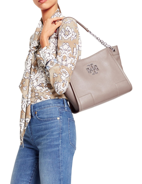 03d9f7c0e9ee TORY BURCH TORY BURCH Britten Small Tote FRENCH GRAY