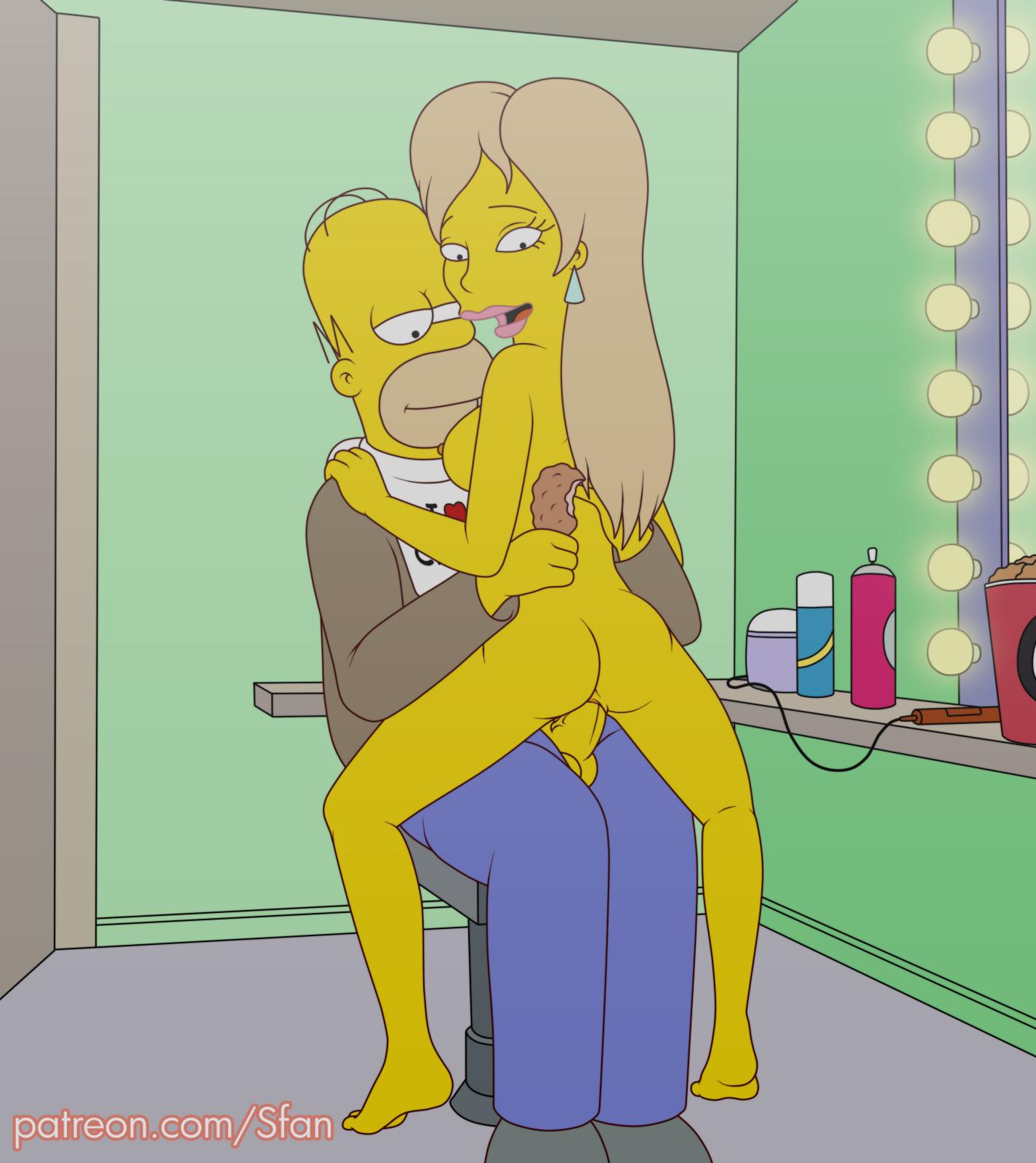 Homer simpson folla rubia