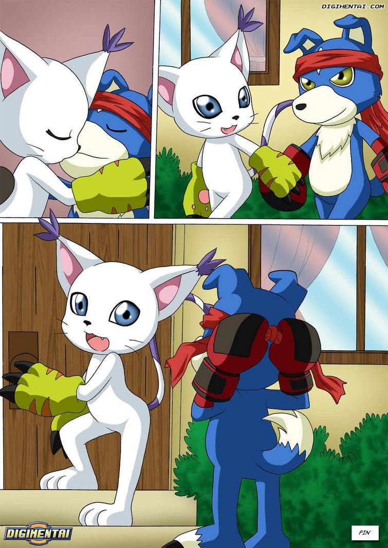 Cómic XXX de Digimon con gatomon en celo 2
