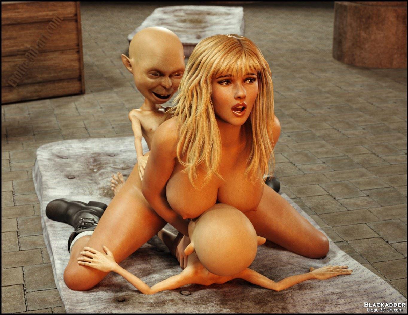 Monster sex blonde 3d nude clip