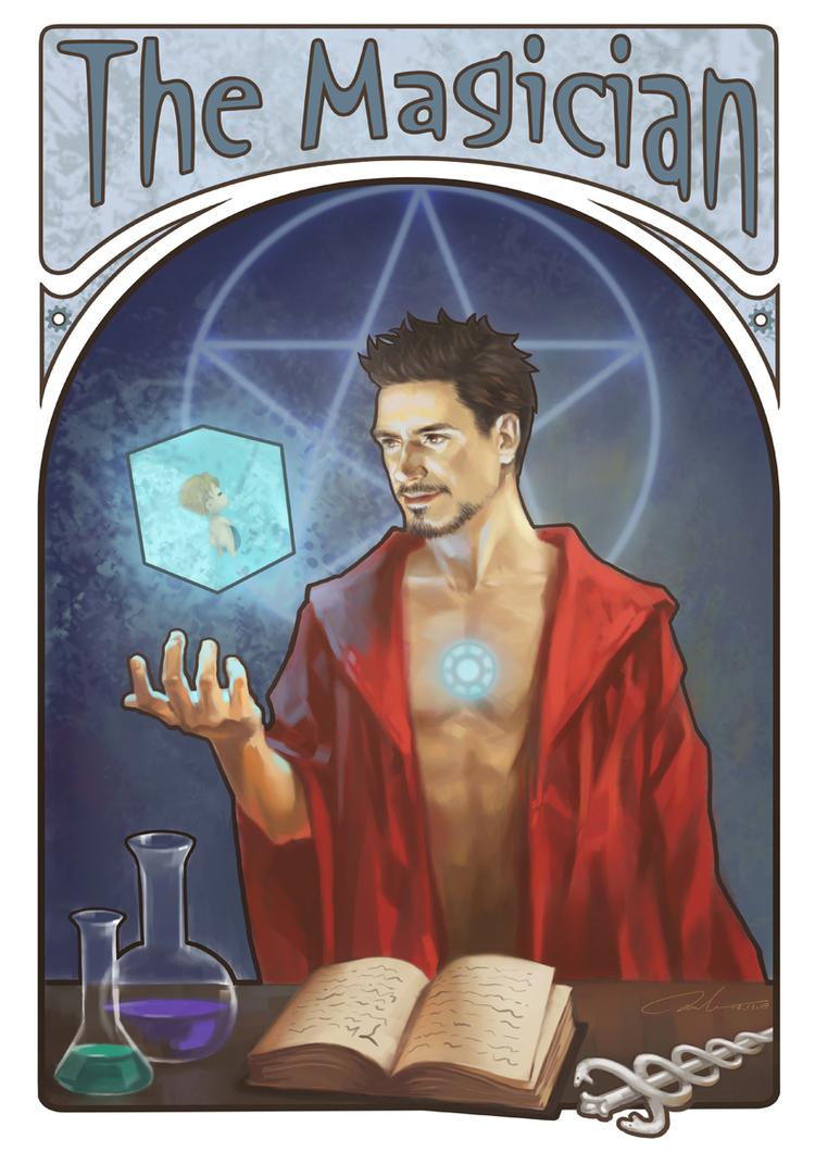 """Tony Stark carta Tarot """"Los Vengadores"""" de Julia Cross"""