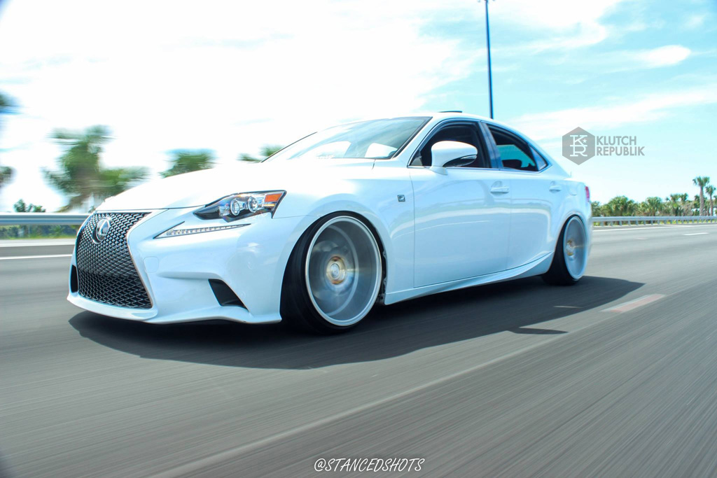 Lexus IS 250 350 on klutch wheels km20 silver 19x10 stanced