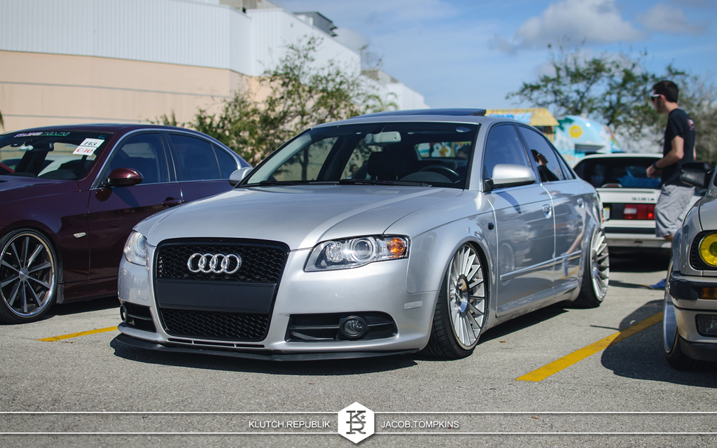 bagged silver audi a4 rotiform wheels