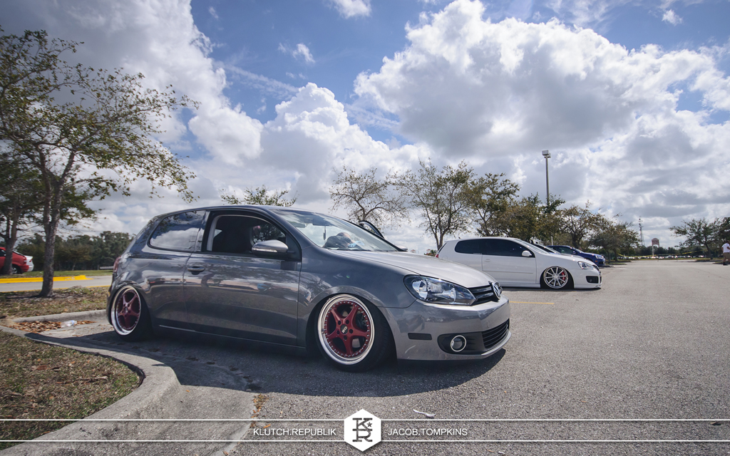 united grey gti on red wheels burgundy air bagged slammed