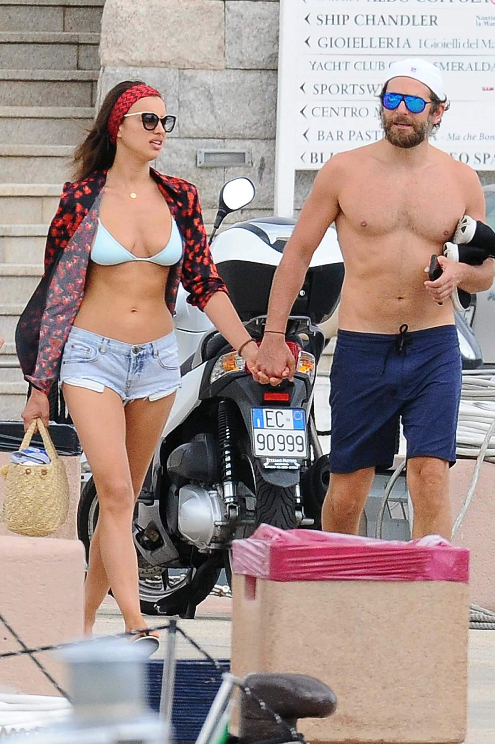 Irina Shayk in Bikini Top and Denim Shorts in Sardinia 08/01/2016