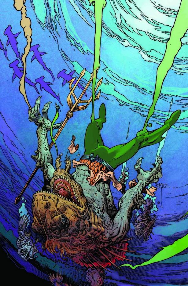 Arthur es un hombre-pez en la portada de AQUAMAN nº 35 por Mark Nelson
