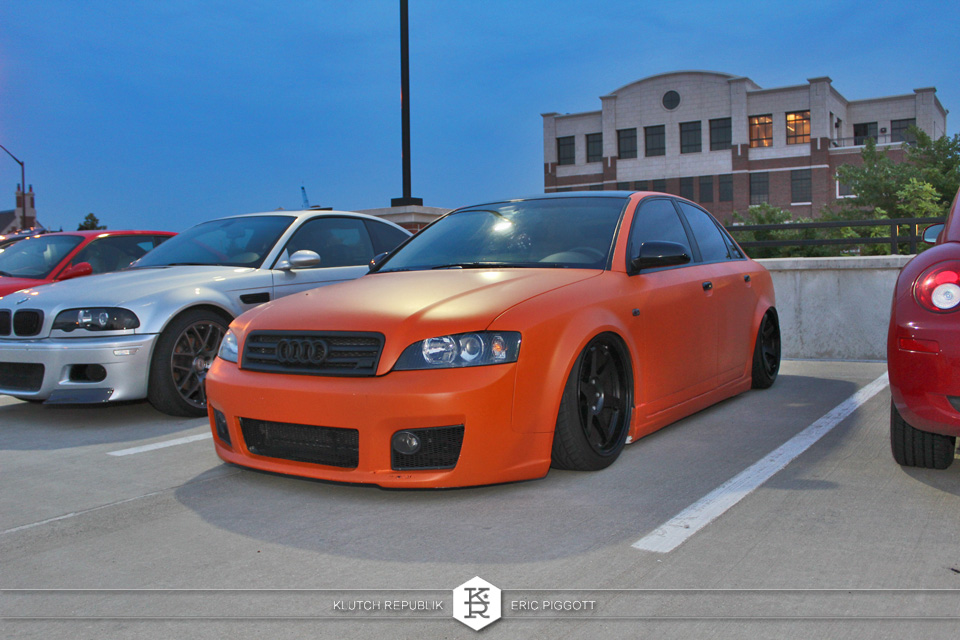 audi a4 bagged orange wrapped