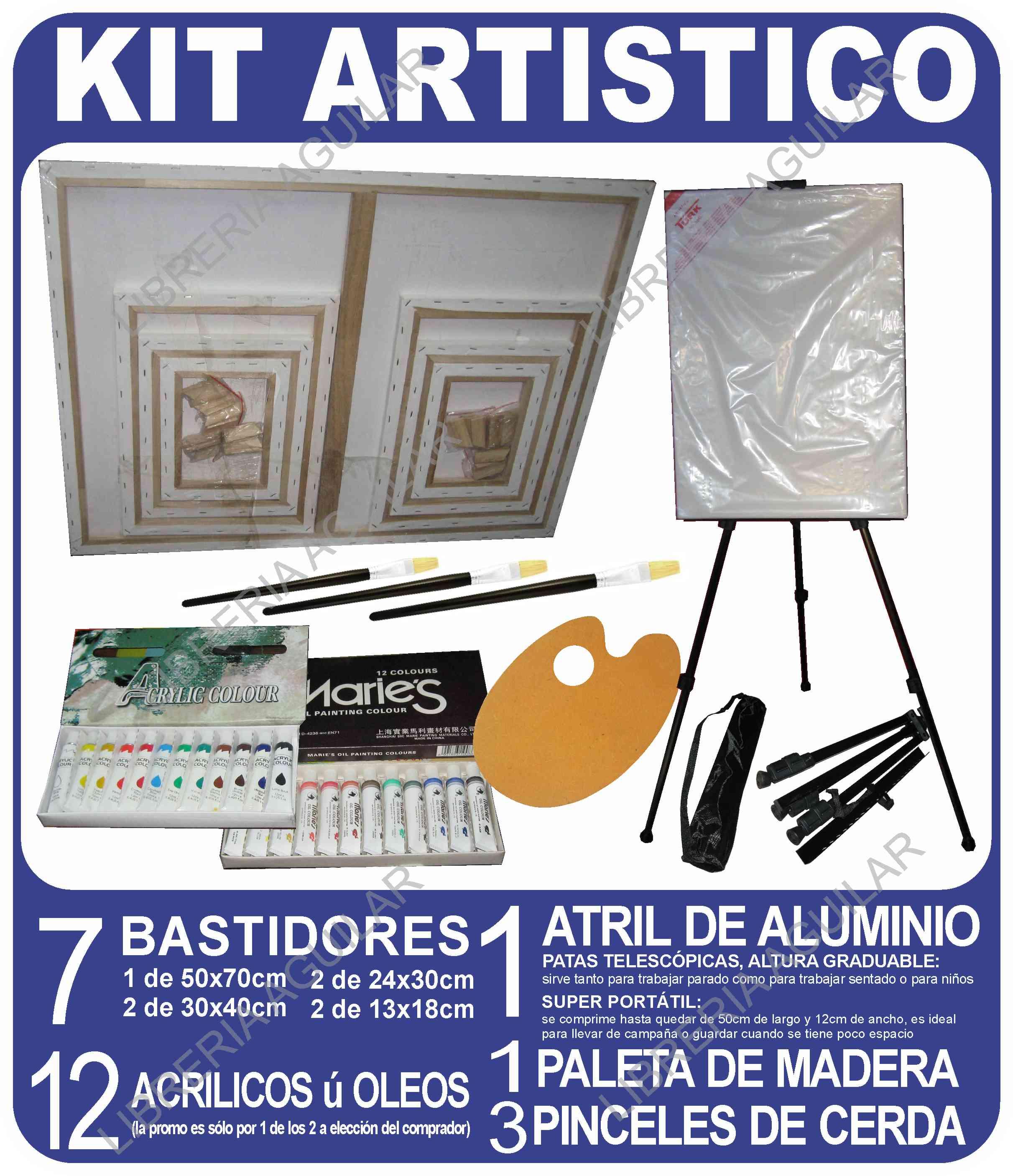 Kit atril metal 7 bastidor oleos acrilicos pinceles paleta - Materiales para pintar ...