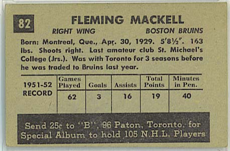 Fleming Mackell - 1952-53 Parkhurst back