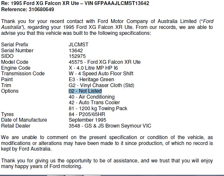 ford falcon transmission codes