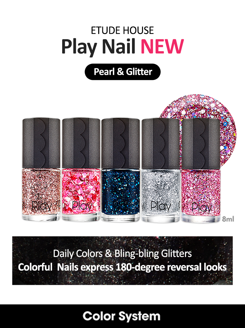 ETUDE HOUSE - PLAY NAIL Polish : Pearl & Glitter ( KOREA Authentic ...