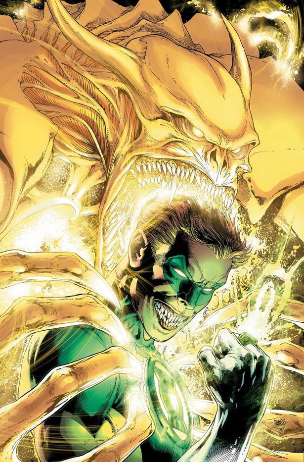 Pedazo de disfraz que se marca el diabólico Hal Jordan de Green Lantern nº35 por Ivan Reis y  Alex Sinclair