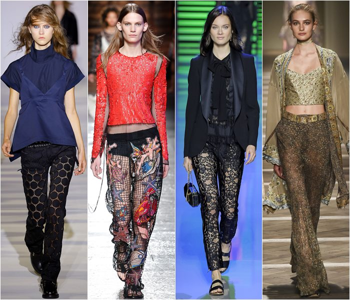 See through, lace and chiffon pants spring/summer 2016