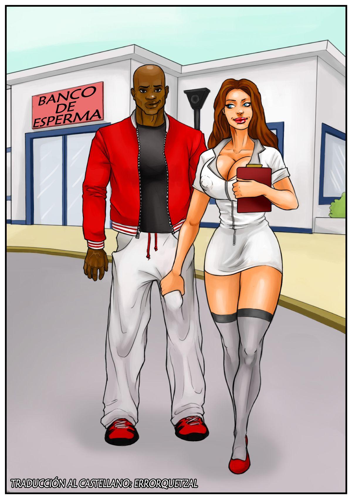 Cómic porno interracial. Banco de Esperma 01