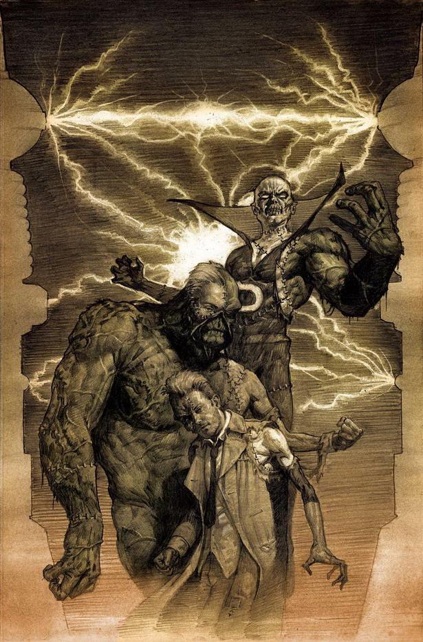 Intercambio de brazos y trozos de cara en Justice League Dark nº35 por Erik Gist