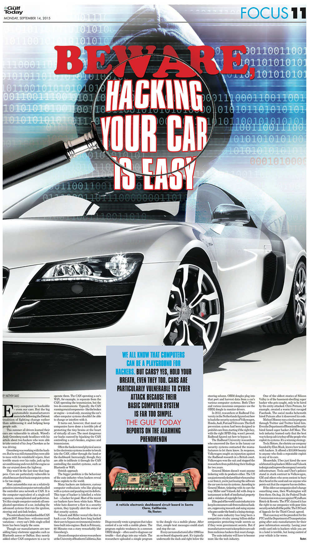 gulftoday ae | Matthew Gault: Beware, hacking your car is easy