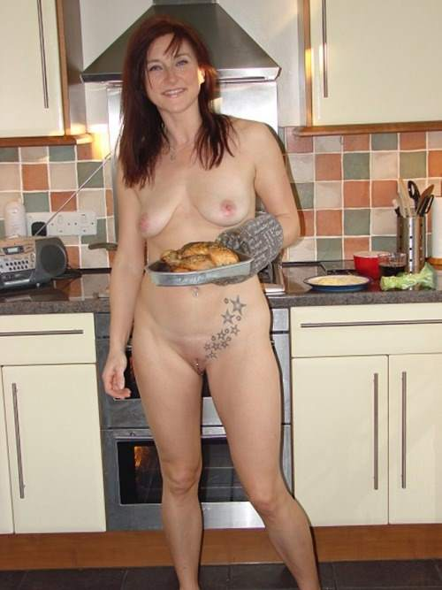 Cooking at home nude