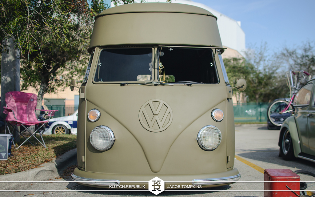 flat green vw bus air cooled