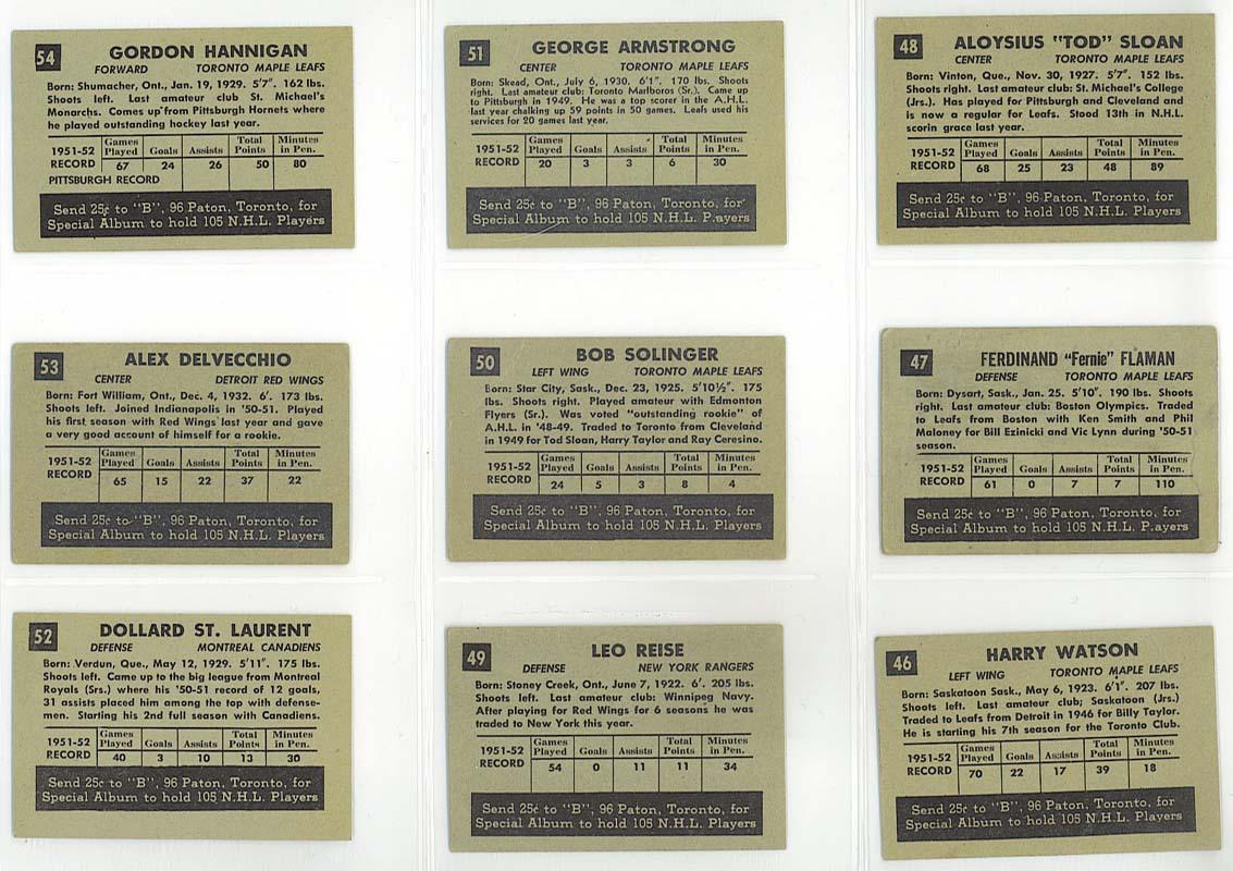 cards 46-54 - 1952-53 Parkhurst backs