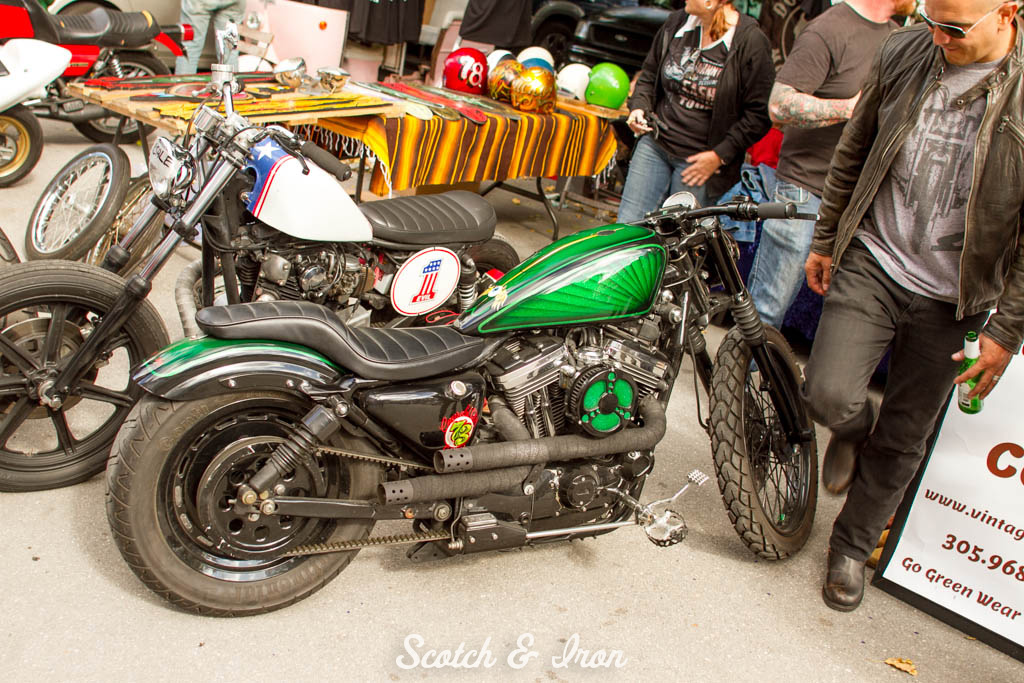 harley sportster with custom green paint on Scotch and Iron