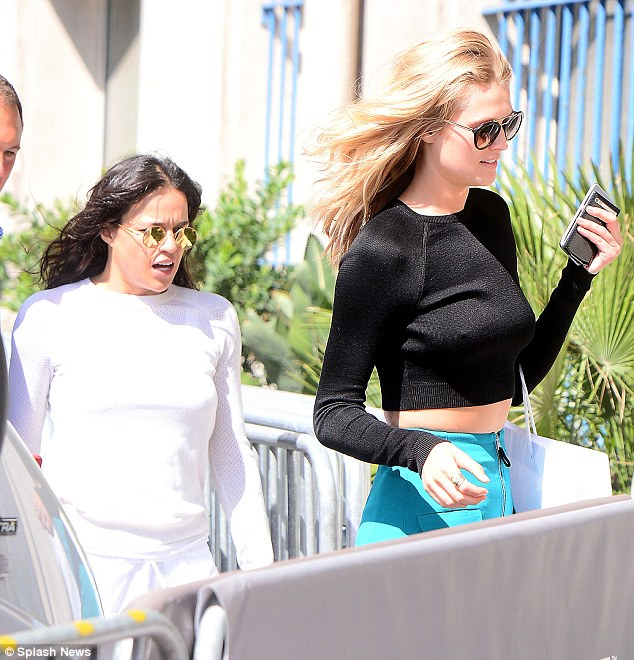 Photo of Michelle Rodriguez & her friend model  Toni Garrn - Longtime