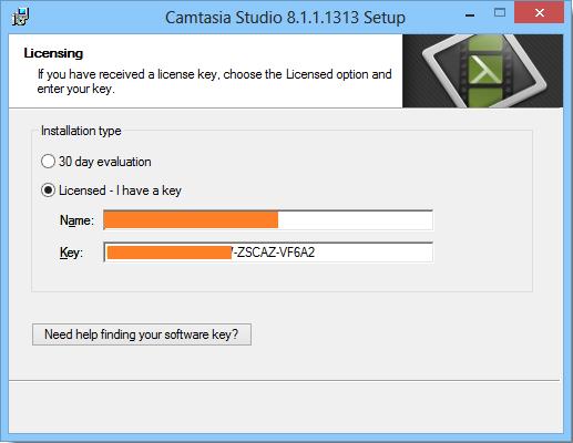 name y key para camtasia studio 8.4