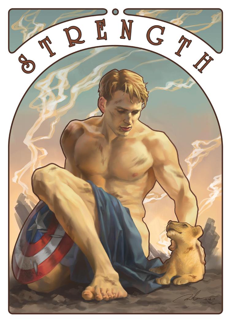 """Capitán América carta Tarot """"Los Vengadores"""" de Julia Cross"""
