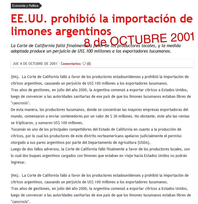 EEUU suspende importación de limones argentinos