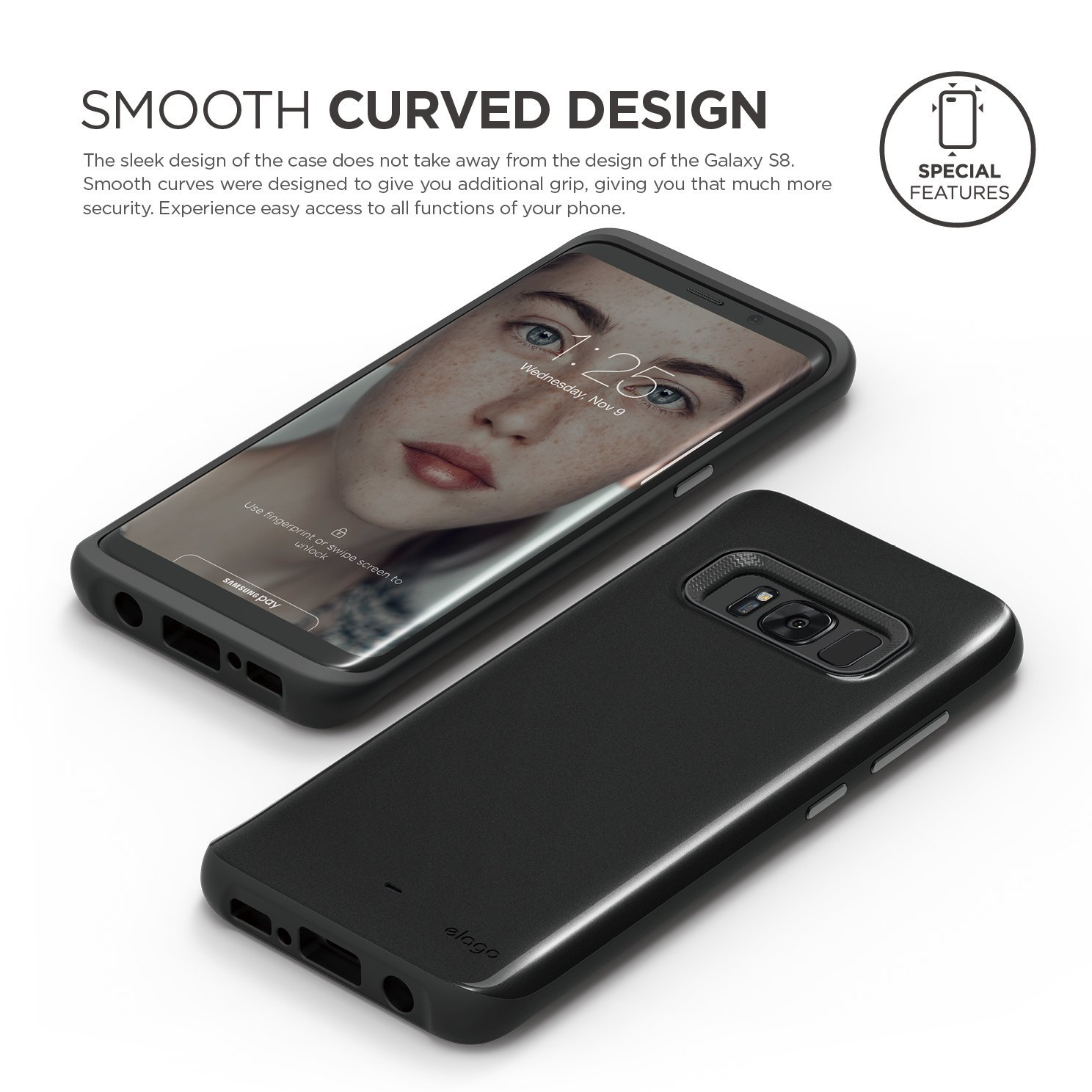 Hybrid Grip Case For Galaxy S8 Midnight Black Elago Europe Samsung Product Features