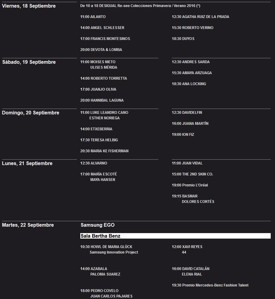 calendario-horario-mercedes-benz-fashion-week-madrid-septiembre-2015