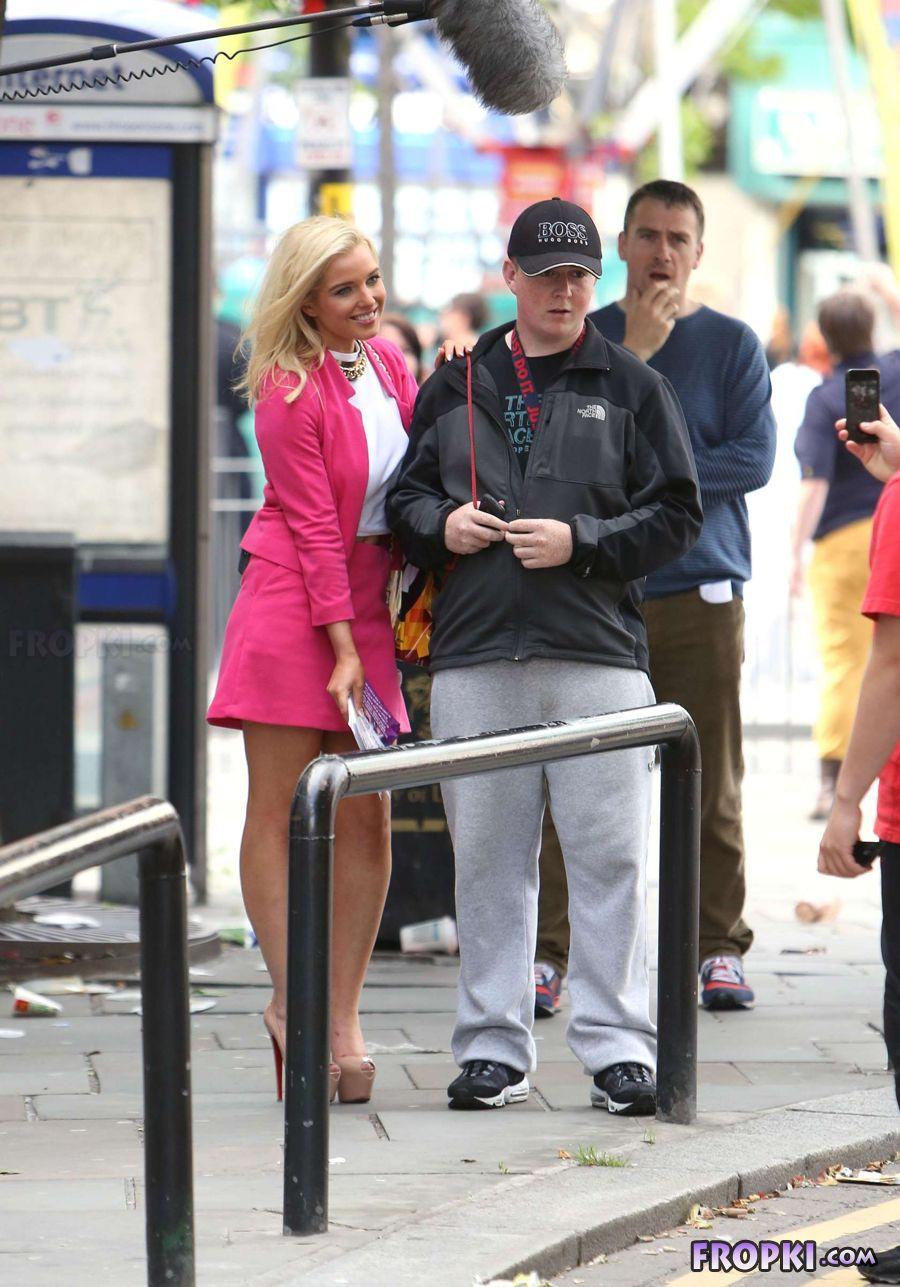 Helen Flanagan in suit on set of Celebrity Superspa AdrJhGjB