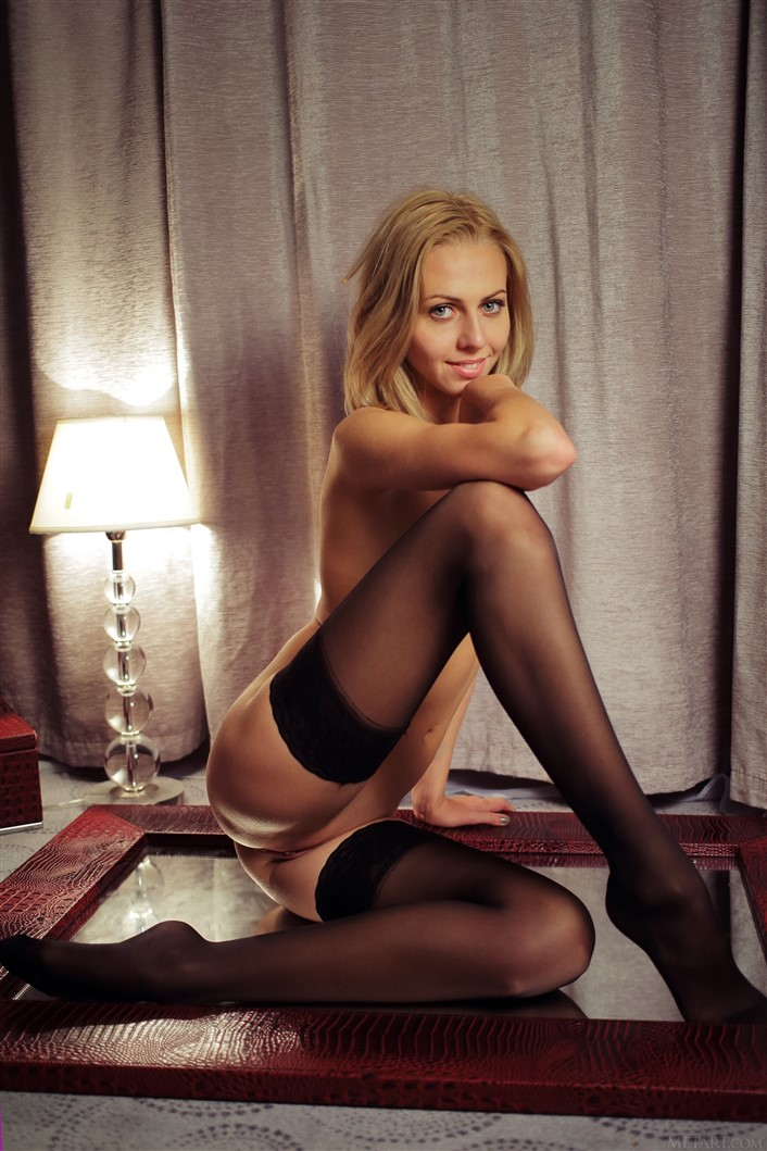 You Naked girl in black tights
