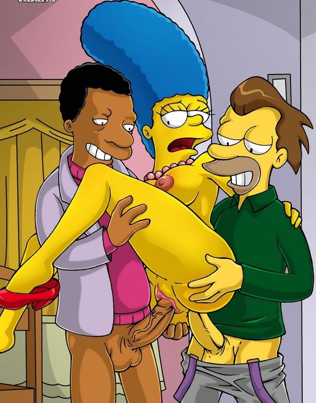 Doble penetración a Marge de Lenny y Carl